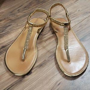 385 Fifth Gold Elastic Strap Sandals